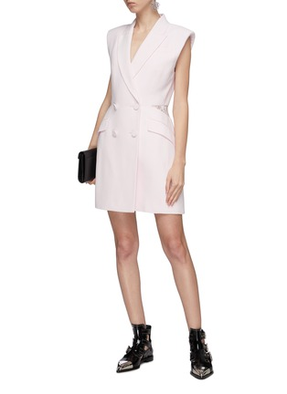 Figure View - Click To Enlarge - Alexander McQueen - Sarabande lace back panel double breasted gilet dress