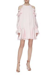 Alexander McQueen Tiered ruffle silk cold shoulder dress