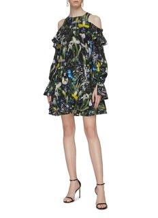 Alexander McQueen 'Ophelia' tiered ruffle floral print silk cold shoulder dress