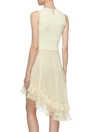 Back View - Click To Enlarge - ALEXANDER MCQUEEN - Asymmetric tiered ruffle knit sleeveless dress