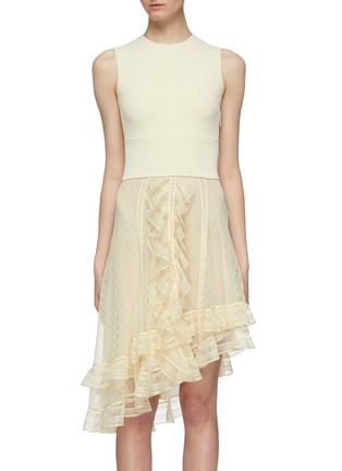 Main View - Click To Enlarge - ALEXANDER MCQUEEN - Asymmetric tiered ruffle knit sleeveless dress