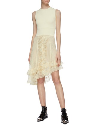 Figure View - Click To Enlarge - ALEXANDER MCQUEEN - Asymmetric tiered ruffle knit sleeveless dress