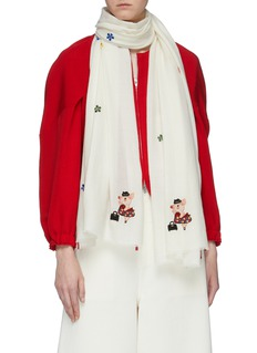 Janavi 'Ms. Piggy' graphic embroidered Merino wool scarf