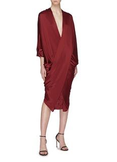POIRET Zip back cross front drape silk satin dress