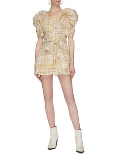 C/MEO COLLECTIVE 'Vice' puff sleeve sash tie mock wrap rompers