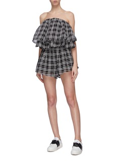 C/MEO COLLECTIVE 'Captivate' belted check plaid flared shorts