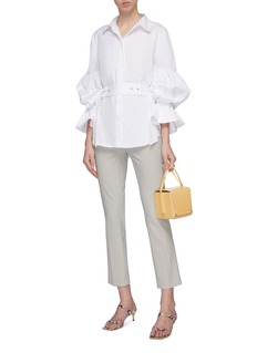 C/MEO COLLECTIVE 'Silenced' balloon sleeve belted shirt