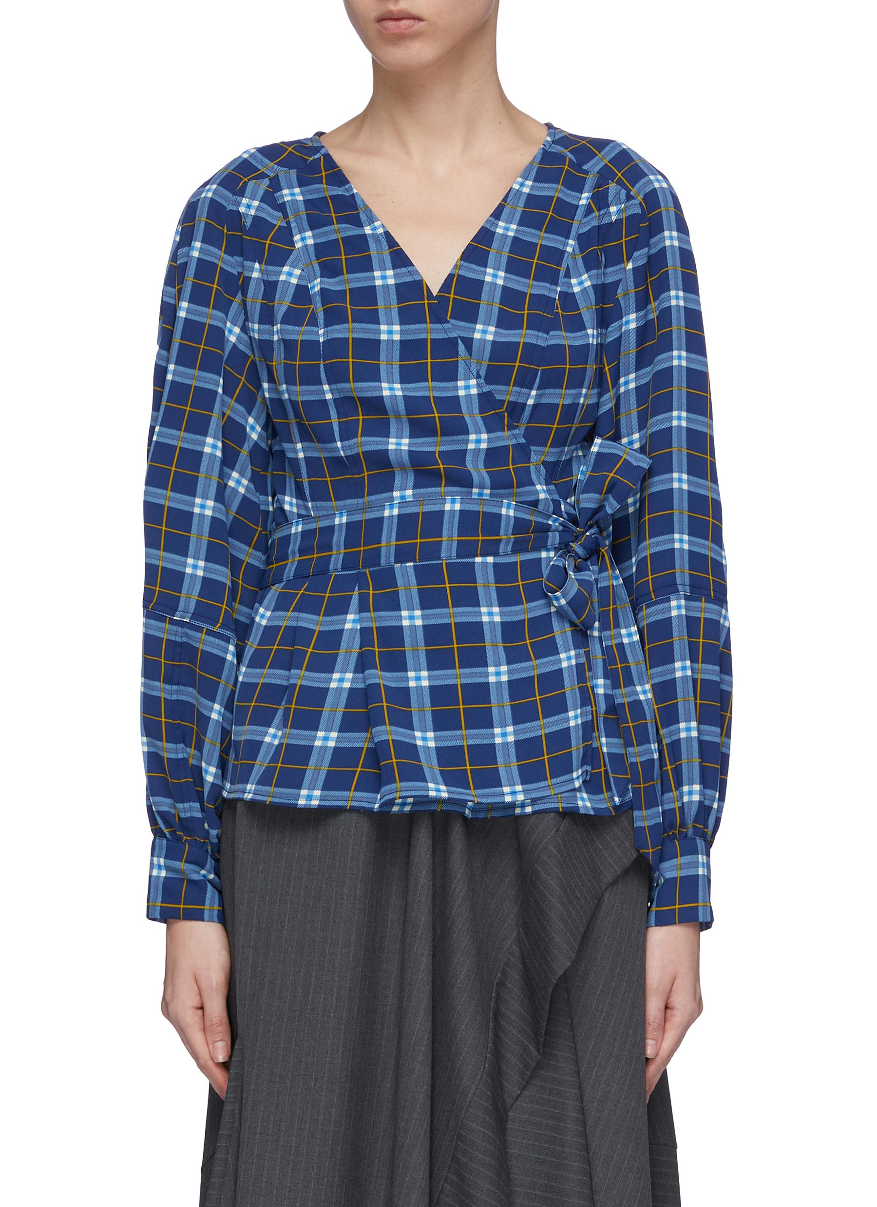 Define check plaid wrap top by C/Meo Collective