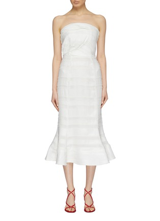 Main View - Click To Enlarge - C/MEO COLLECTIVE - 'Solitude' flared textured stripe strapless dress