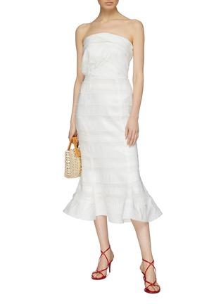 Figure View - Click To Enlarge - C/MEO COLLECTIVE - 'Solitude' flared textured stripe strapless dress