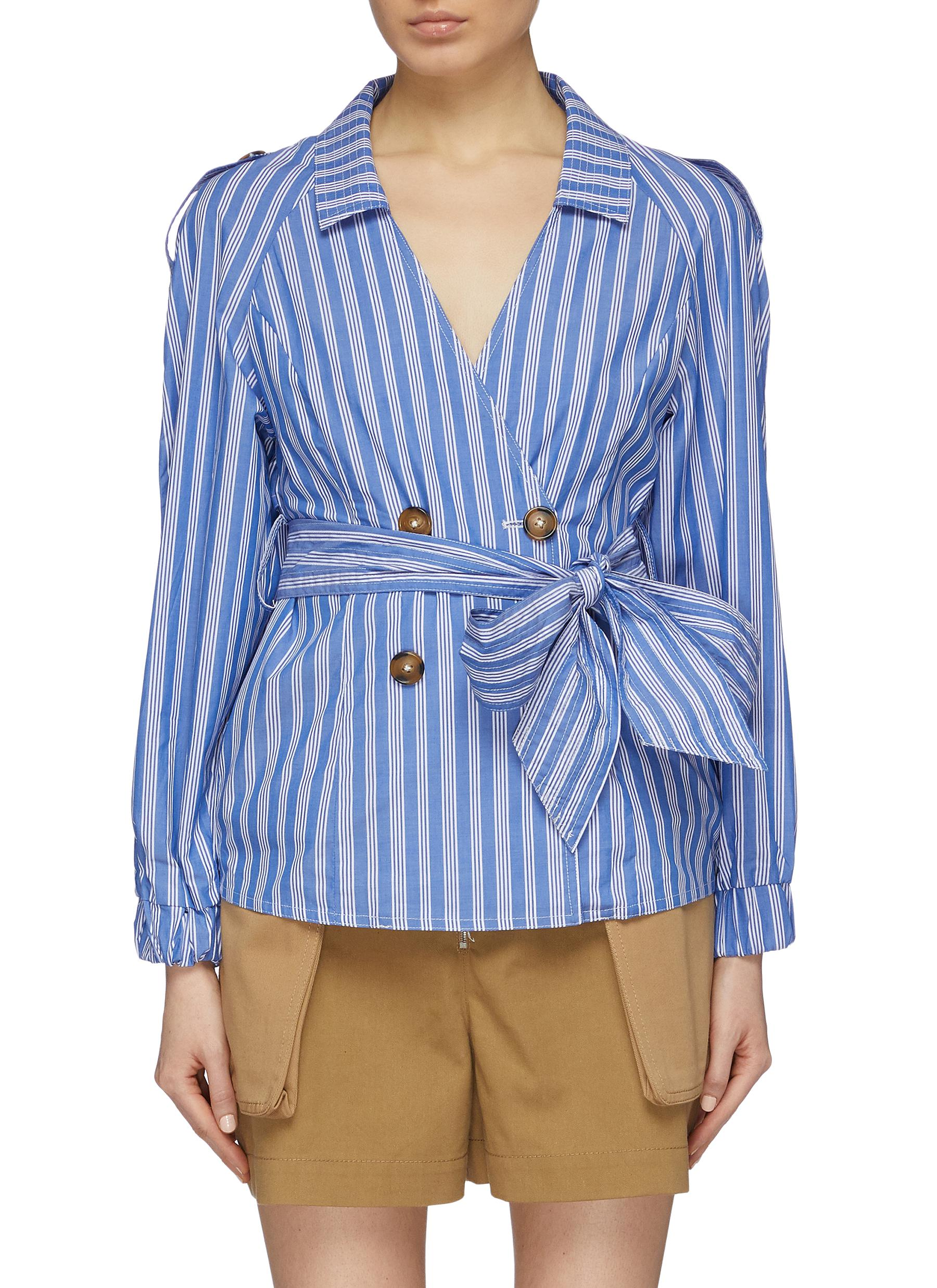 Motivations belted stripe double breasted shirt by C/Meo Collective
