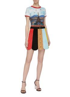 alice + olivia 'Rudie' scalloped hem colourblock suede mini skirt