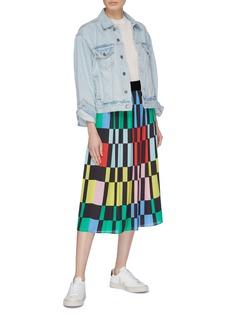 alice + olivia 'Melda' colourblock geometric print pleated midi skirt