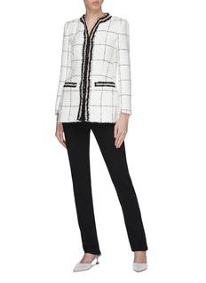 alice + olivia 'Indira' embellished border windowpane check tweed long jacket