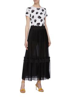 alice + olivia 'Emmie' lace trim tiered hem pleated tulle skirt