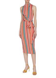 alice + olivia 'Delora' sash tie waist stripe high neck dress
