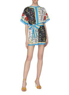 alice + olivia 'Bowie' sash tie mix floral print rompers
