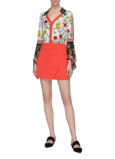 alice + olivia 'Shaylee' asymmetric mock wrap mini skirt