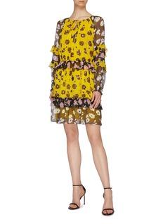 Diane von Furstenberg 'Haven' colourblock floral print ruffle tiered silk dress