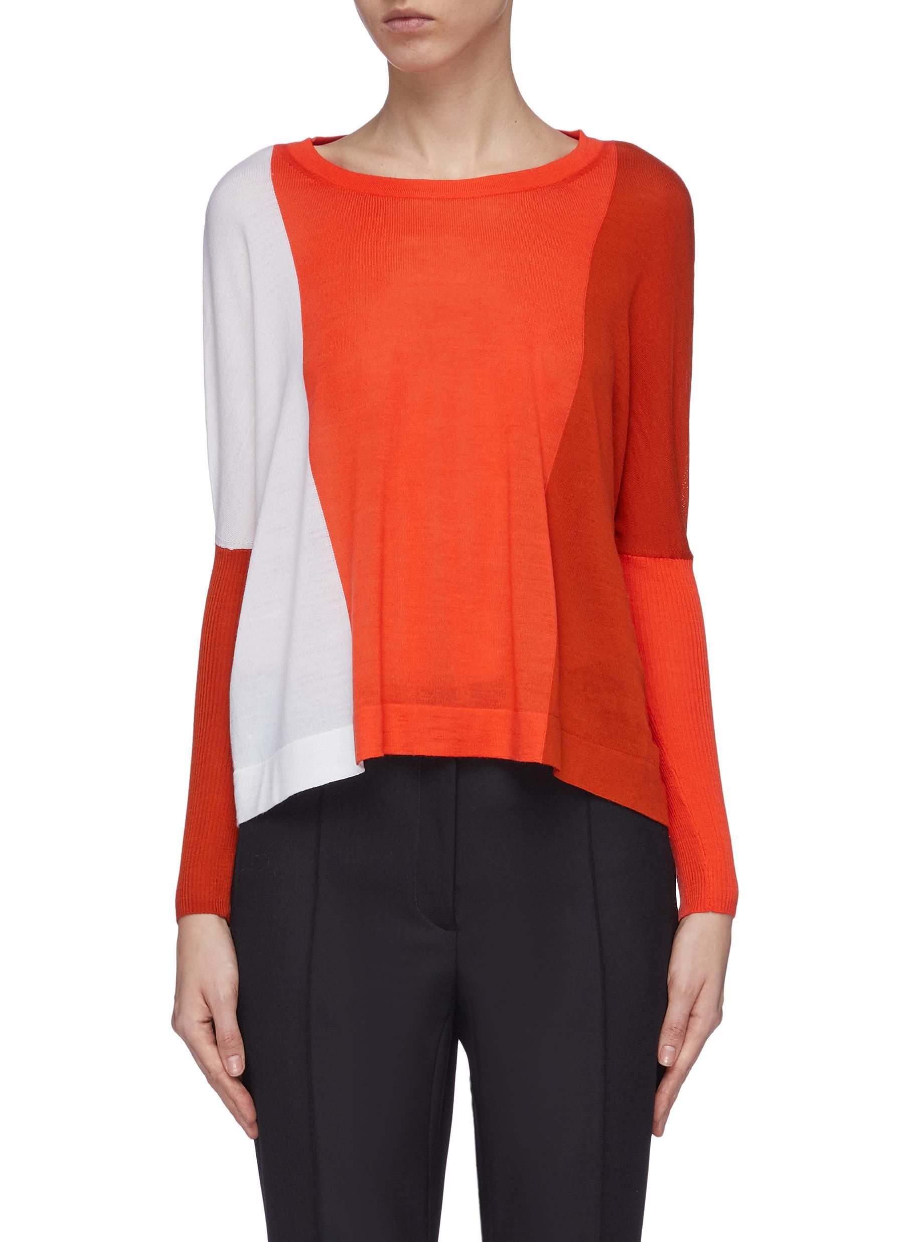 Danna dolman sleeve colourblock boxy Merino wool sweater by Diane Von Furstenberg