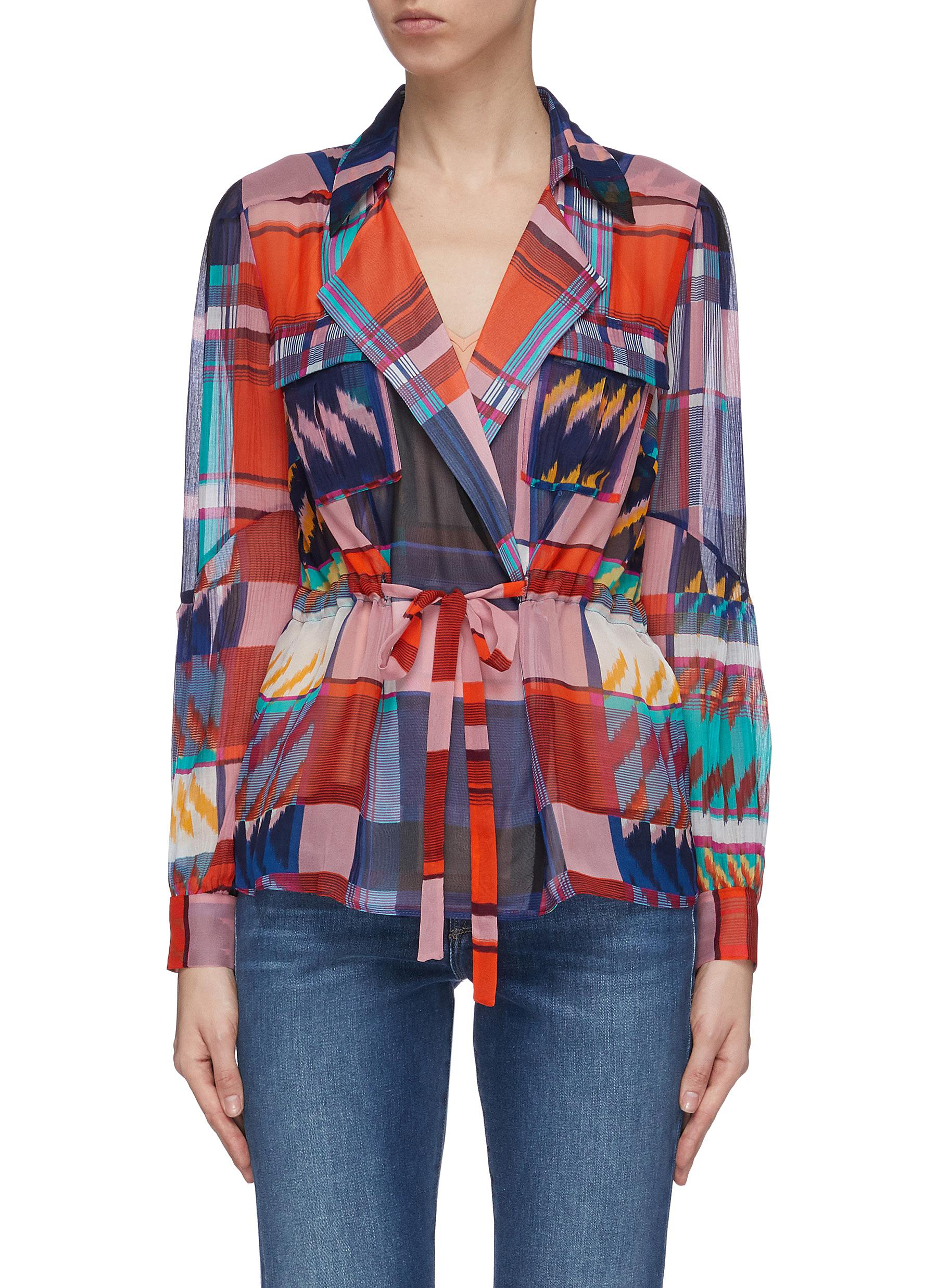 Joanna mix print pleated drawstring silk chiffon blouse by Diane Von Furstenberg
