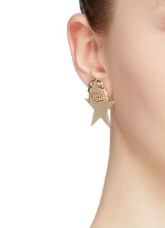 Venna Hamburger fries star stud mismatched earrings