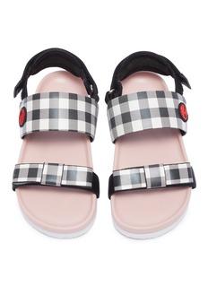 WiNK 'Birkies' gingham check leather kids slingback sandals