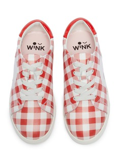 WiNK 'Ice Cream' logo patch gingham check leather kids sneakers