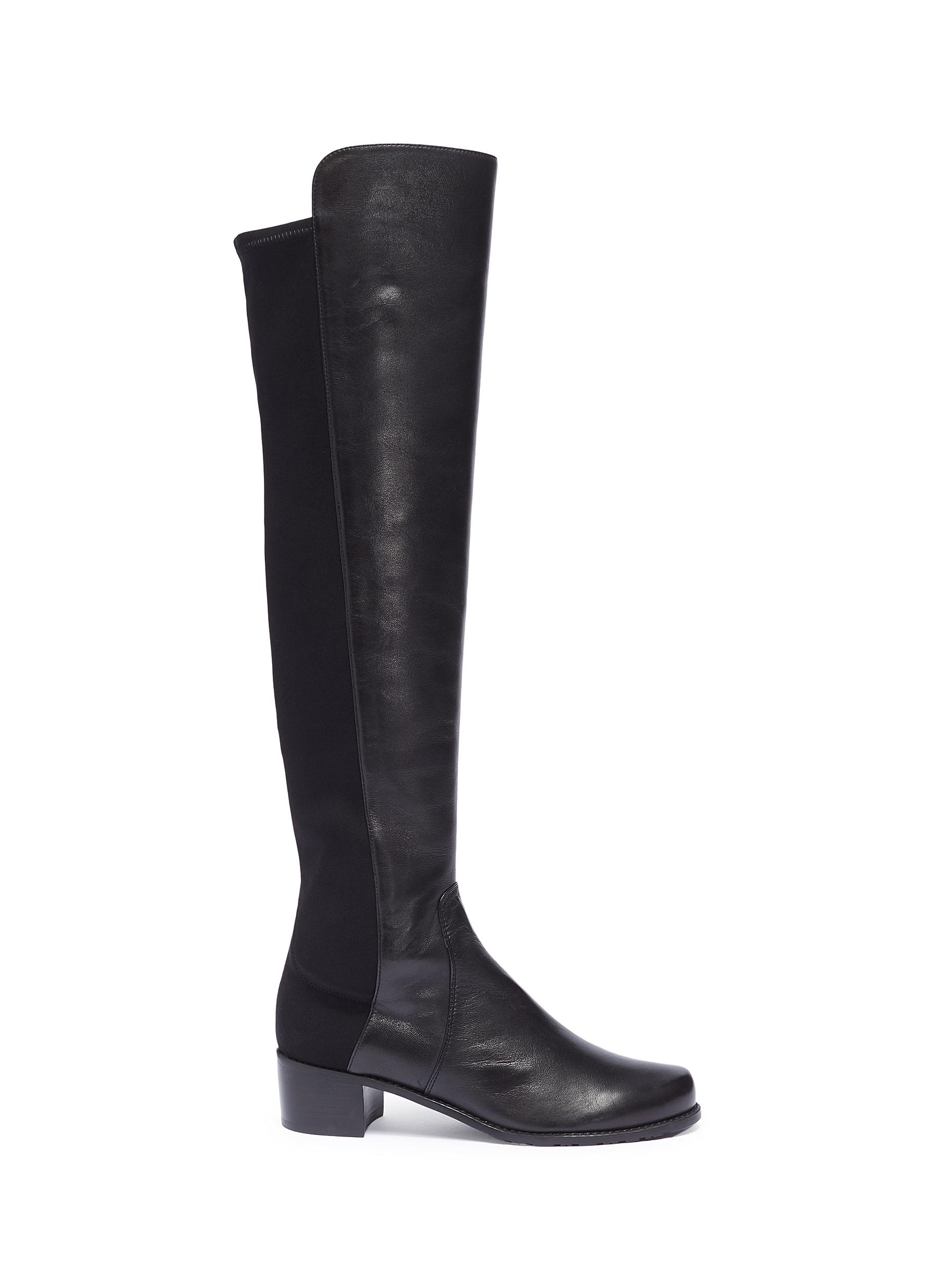 Reserve stretch leather knee high boots by Stuart Weitzman