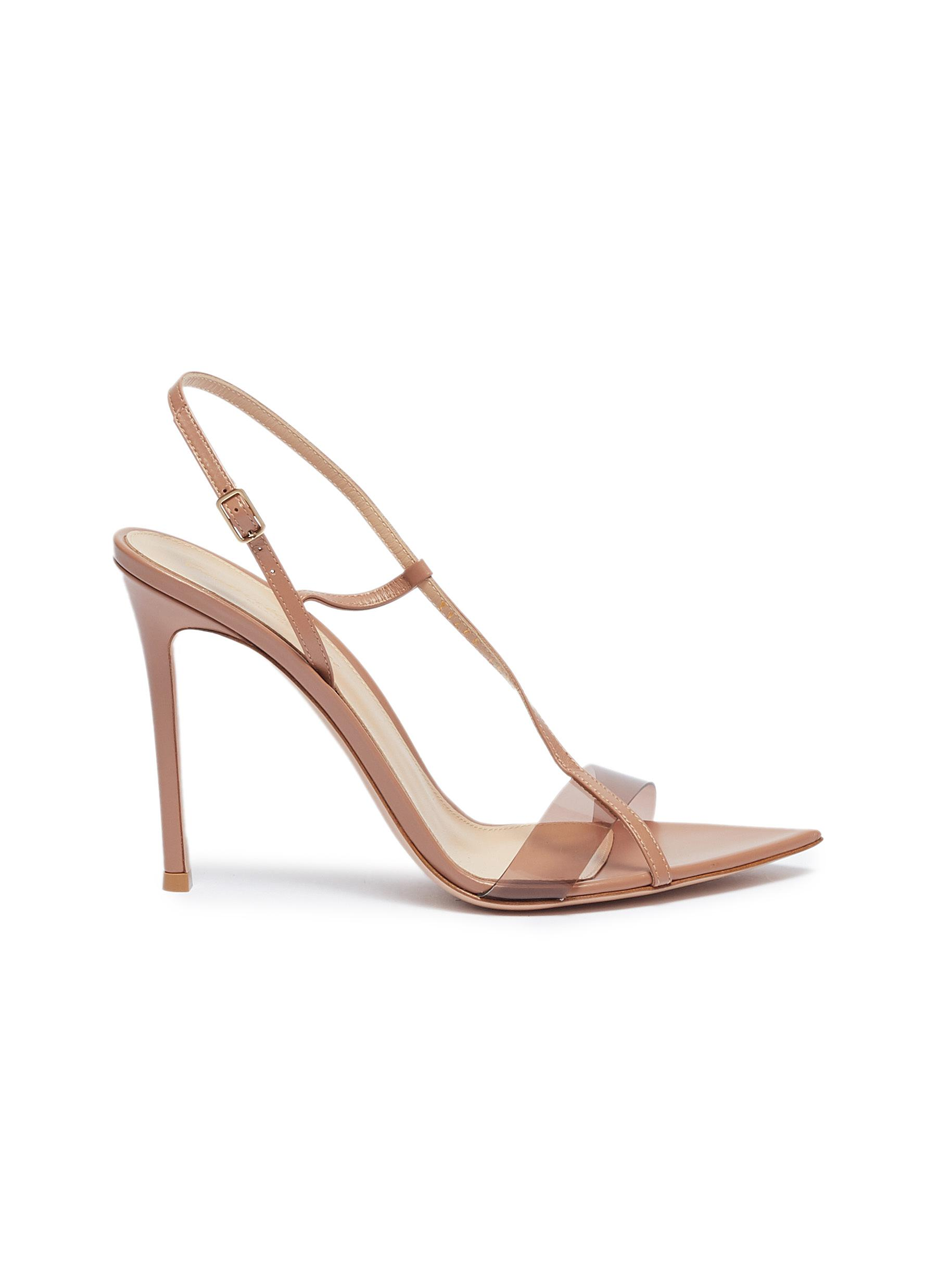 Slant PVC band leather sandals by Gianvito Rossi