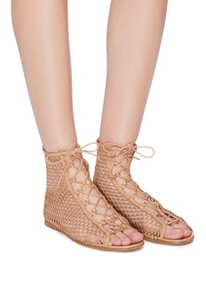 Gianvito Rossi 'Helena' lace-up fishnet sandals