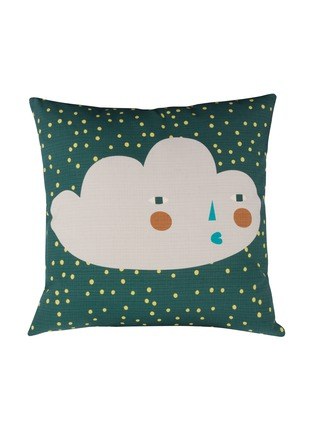 Main View - Click To Enlarge - DONNA WILSON - Cloudy Face cushion – Dark Green