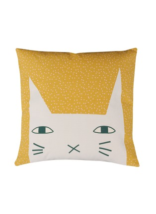 Main View - Click To Enlarge - DONNA WILSON - Cat Ears two-sided cushion – Mustard/Duck Egg