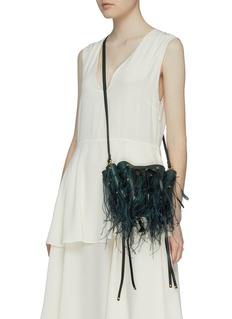 Valentino 'Go Logo' ostrich feather small leather bucket bag