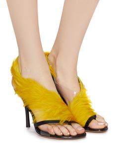 Dries Van Noten Feather wrap leather sandals