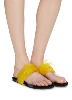 Dries Van Noten Feather PVC band slide sandals