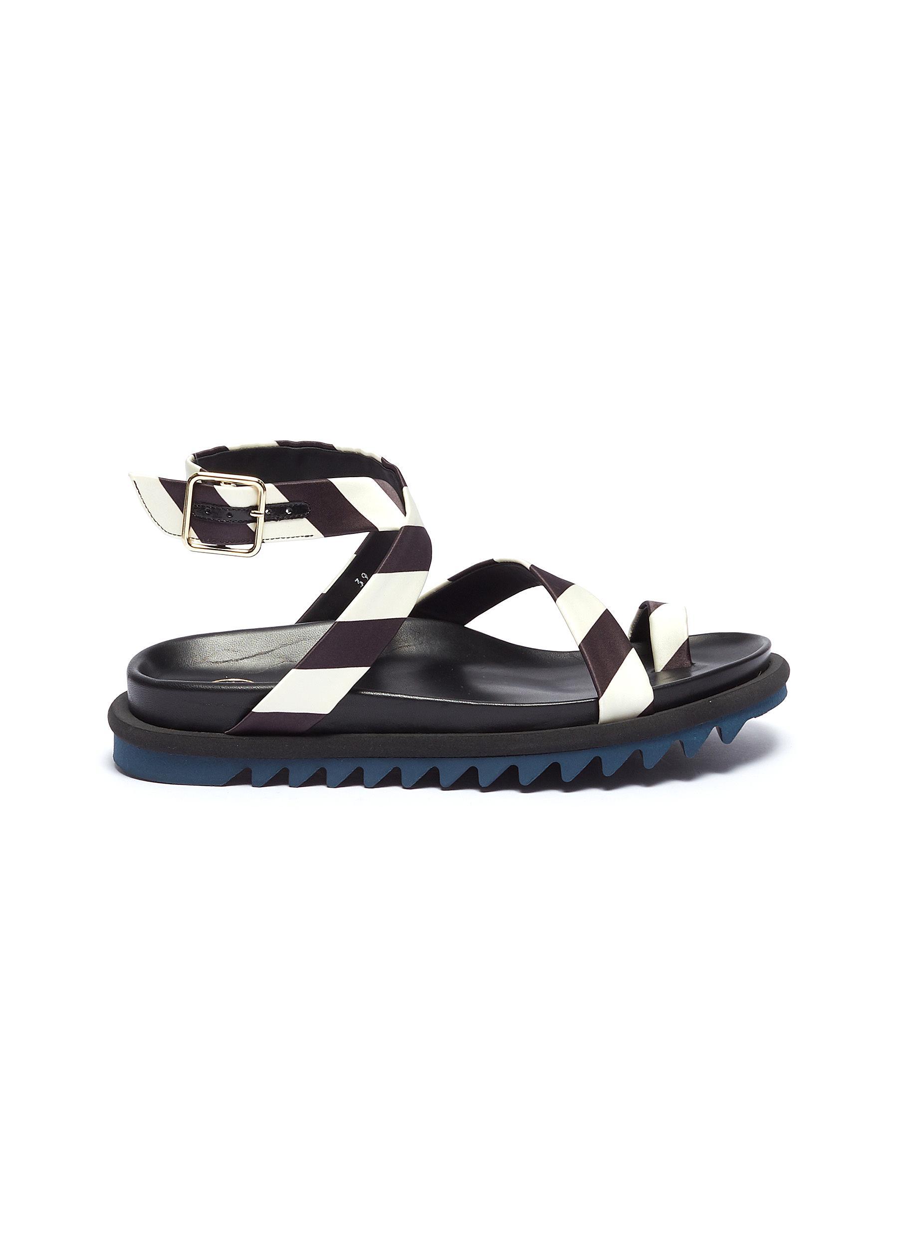 Dries Van Noten Flats Cross stripe ankle strap flatform sandals