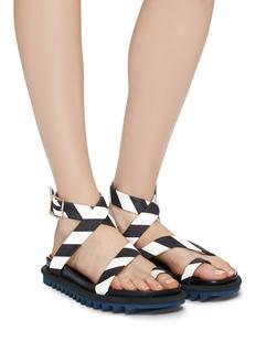 Dries Van Noten Cross stripe ankle strap flatform sandals