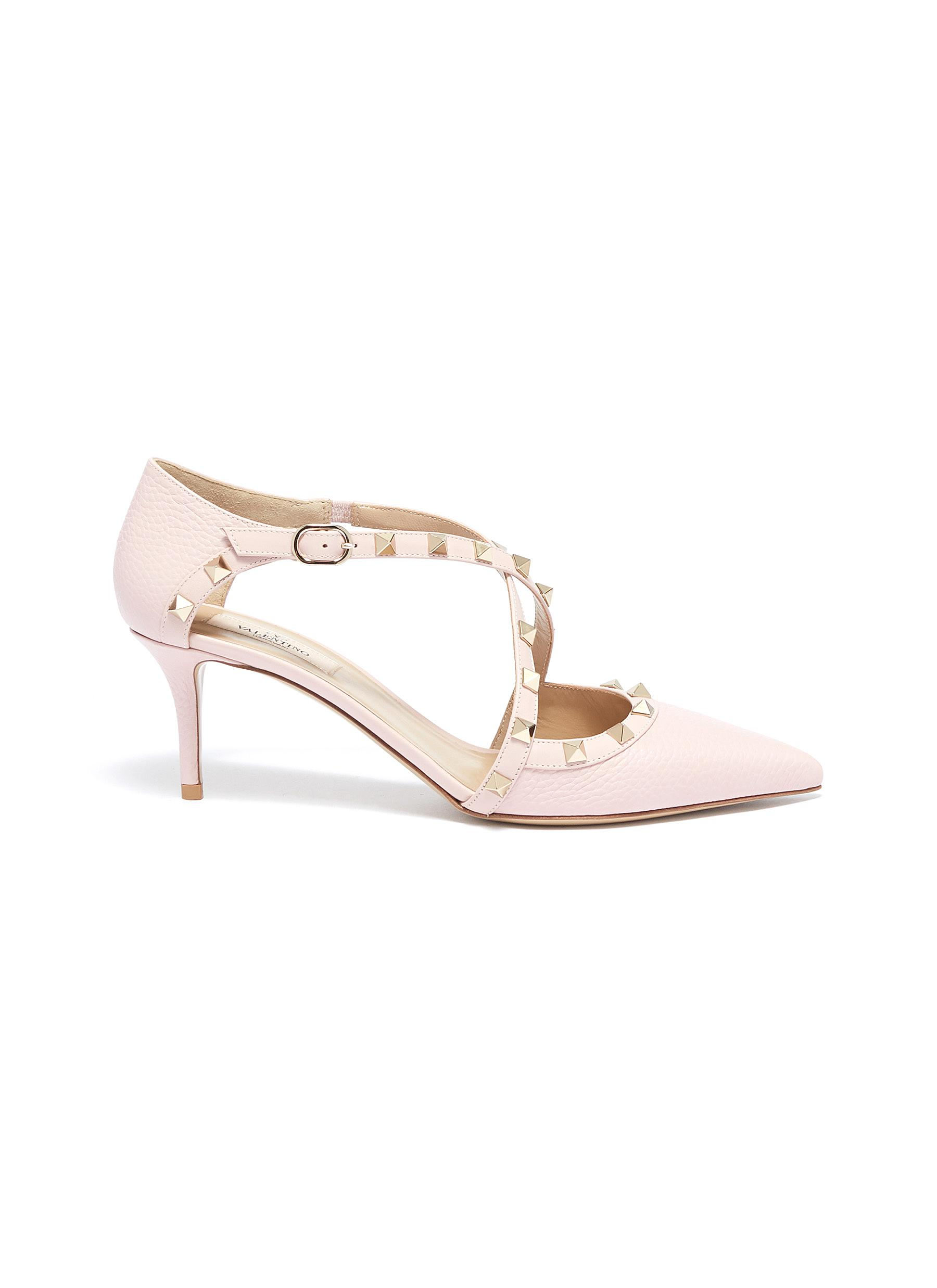Rockstud cross strap leather dOrsay pumps by Valentino