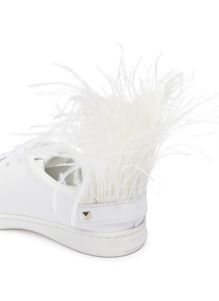 - VALENTINO - Valentino Garavani 'VLOGO' feather perforated leather sneakers