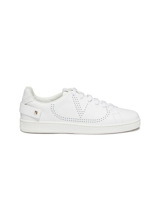 Main View - Click To Enlarge - VALENTINO - Valentino Garavani 'VLOGO' feather perforated leather sneakers