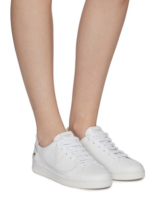 Figure View - Click To Enlarge - VALENTINO - Valentino Garavani 'VLOGO' feather perforated leather sneakers