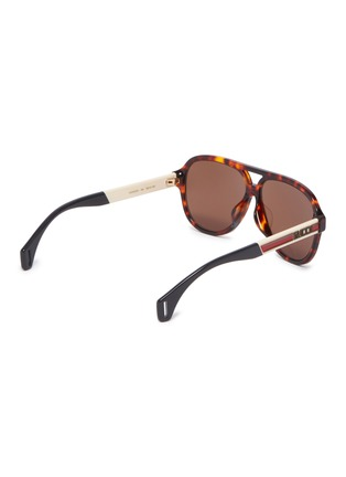 3c2c5d8152b Figure View - Click To Enlarge - Gucci - Tortoiseshell front logo stripe  temple acetate aviator