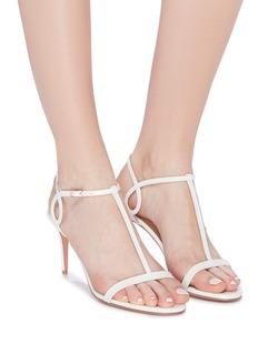 Aquazzura 'Almost Bare' ankle strap croc embossed leather sandals