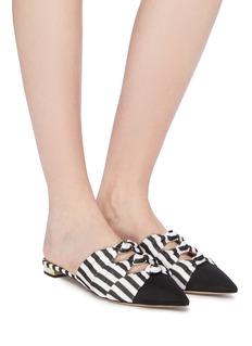 Aquazzura 'Mondaine' cutout knot colourblock stripe slides