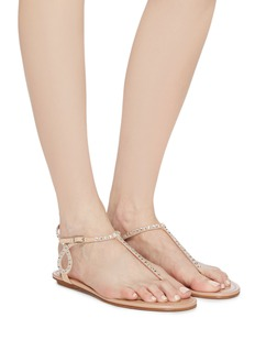 Aquazzura 'Almost Bare' strass strap suede sandals