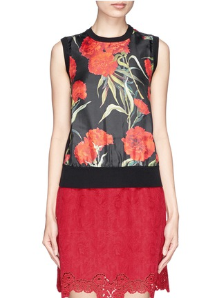Main View - Click To Enlarge - Dolce & Gabbana - Carnation print silk front sleeveless top
