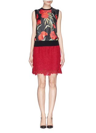 Figure View - Click To Enlarge - Dolce & Gabbana - Carnation print silk front sleeveless top