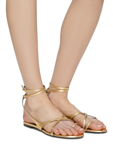 SAINT LAURENT 'Gia' strappy metallic leather sandals
