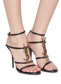 SAINT LAURENT 'Cassandra' logo plaque strappy leather sandals